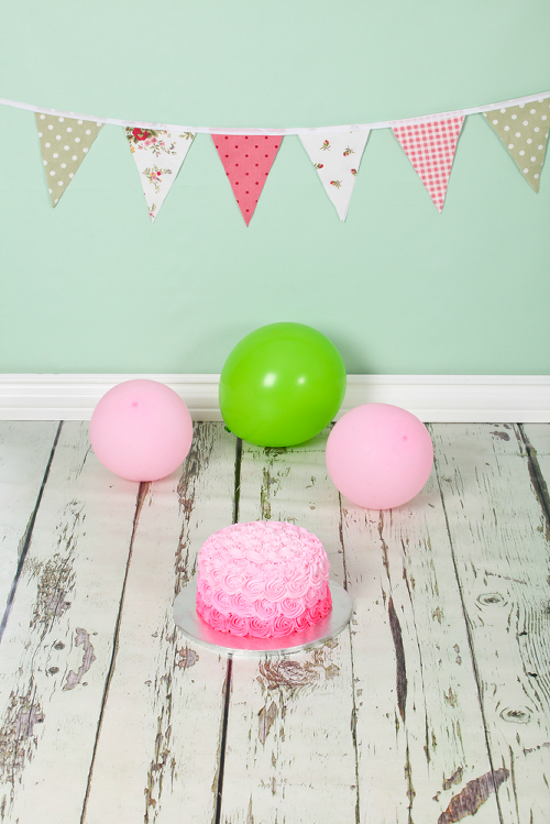 Pastel Pink Bunting Banner and Cake
