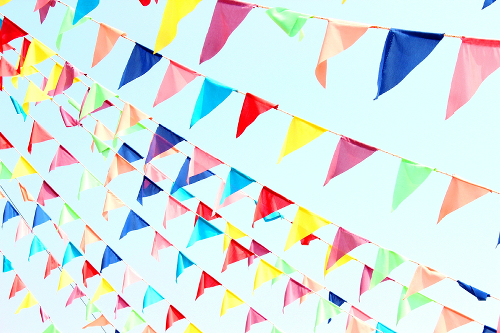 Multi Colored Bunting Pennant Banner