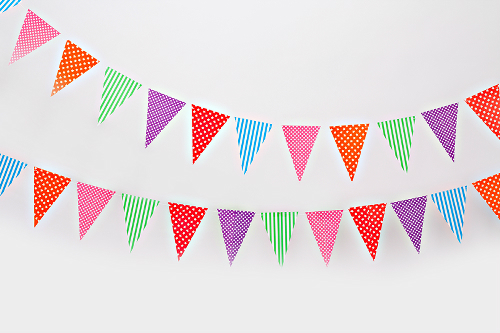Bright colored Bunting Pennant Banner