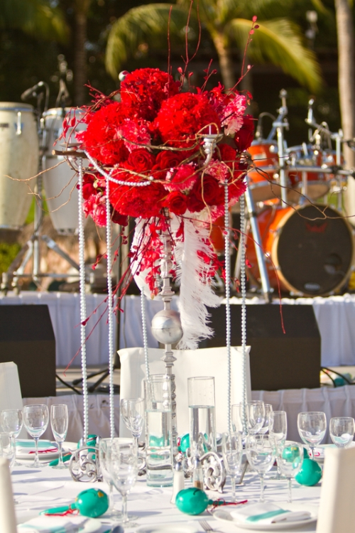Outdoor candelabra centerpieces with hanging crystal garland