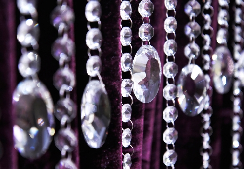 Clear hanging crystal garland strands