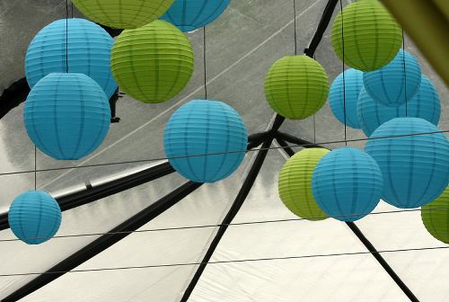 Blue and Green Paper Lanterns