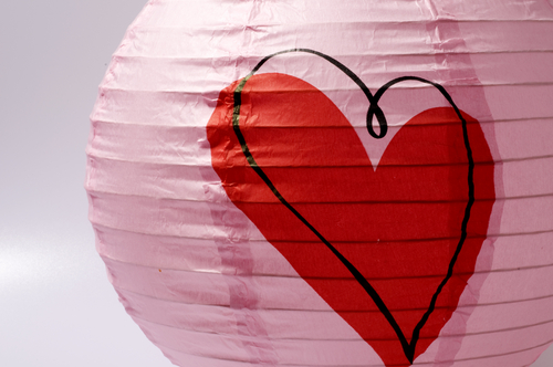 Pink Paper Lantern with Red Heart