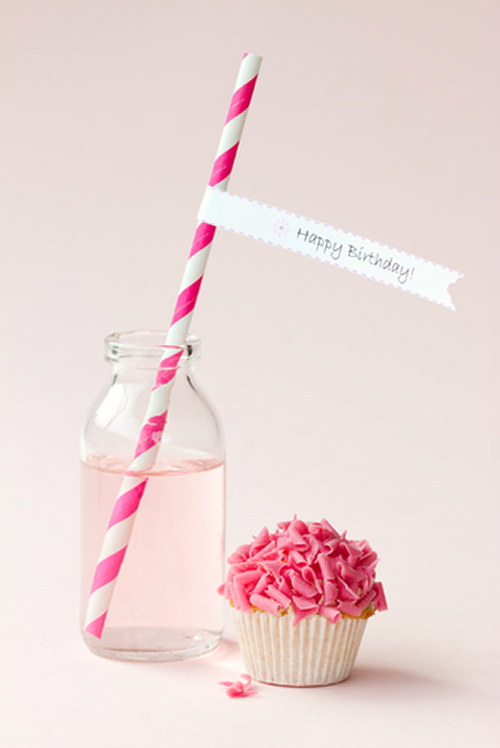 Cupcake and Striped Paper Straw