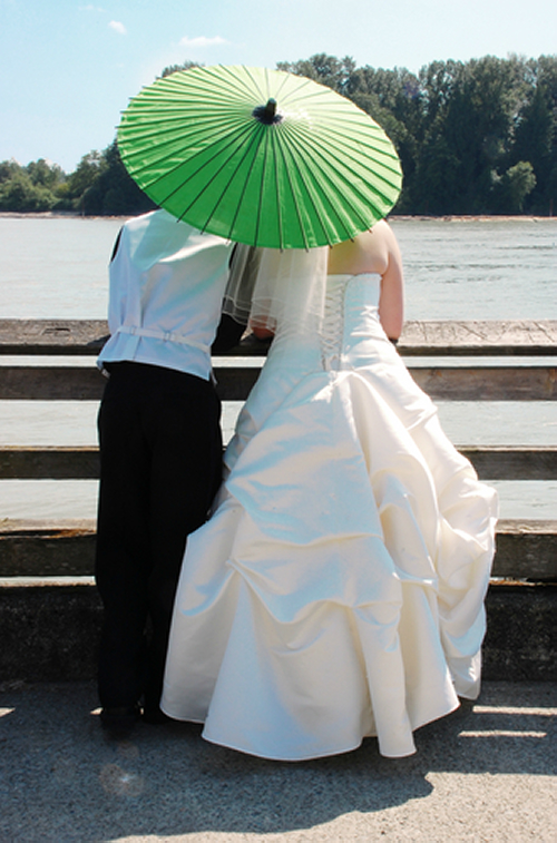 Bride and Groom with Green Parasol