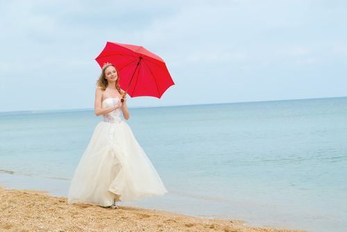Bride with Bright Red Parasol