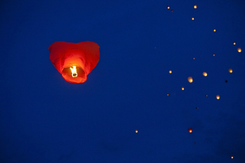 Heart Sky Lantern Night Release