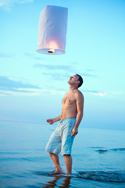 Sky Lanterns at Beach