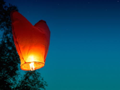 Heart Sky Lantern at Night