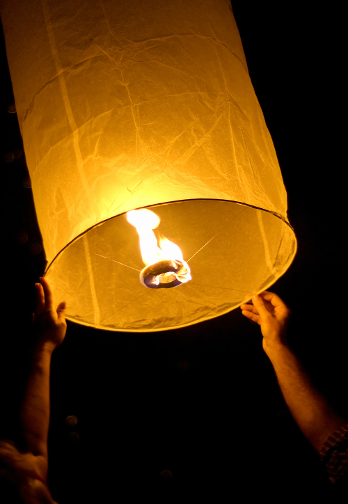 Sky Lantern Release at night