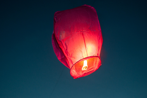 Res Sky Lantern at Night