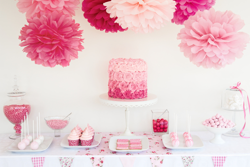 Pink party with tissue poms