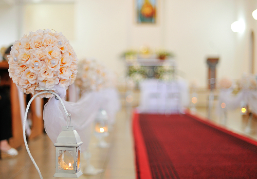 Wedding Ceremony with Decorative Candle Lanterns